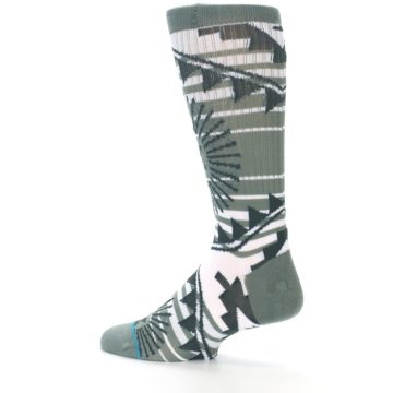 Image of White Green Patterned Men's Casual Socks (side-2-13)