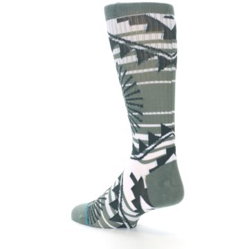 Image of White Green Patterned Men's Casual Socks (side-2-back-14)