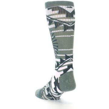 Image of White Green Patterned Men's Casual Socks (side-2-back-15)