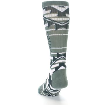 Image of White Green Patterned Men's Casual Socks (side-2-back-16)