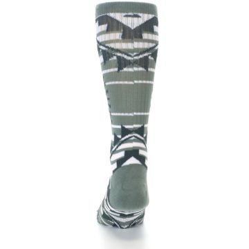 Image of White Green Patterned Men's Casual Socks (back-17)