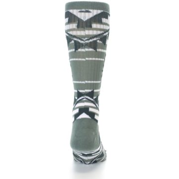 Image of White Green Patterned Men's Casual Socks (back-18)