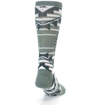 Image of White Green Patterned Men's Casual Socks (back-19)