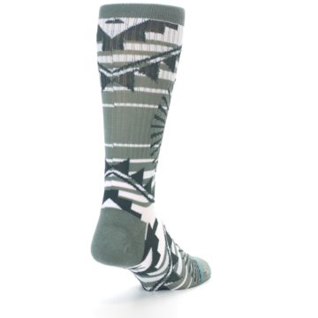 Image of White Green Patterned Men's Casual Socks (side-1-back-20)