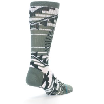Image of White Green Patterned Men's Casual Socks (side-1-back-21)