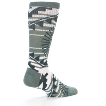 Image of White Green Patterned Men's Casual Socks (side-1-back-22)