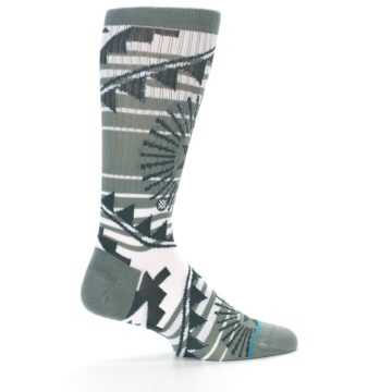Image of White Green Patterned Men's Casual Socks (side-1-23)