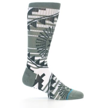 Image of White Green Patterned Men's Casual Socks (side-1-24)