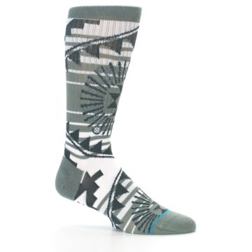 Image of White Green Patterned Men's Casual Socks (side-1-25)