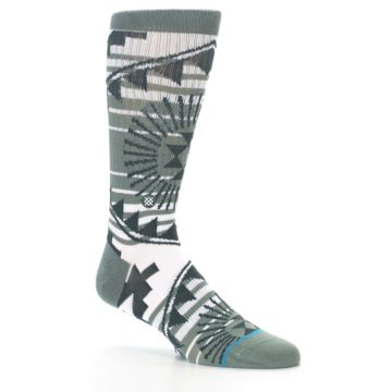Image of White Green Patterned Men's Casual Socks (side-1-26)