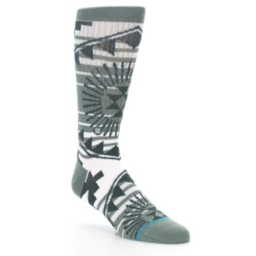 Image of White Green Patterned Men's Casual Socks (side-1-27)