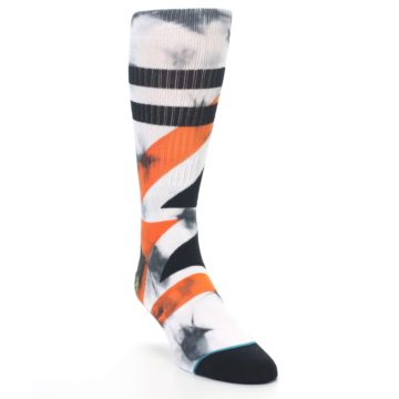 Image of White Black Orange Pattern Men's Casual Socks (side-1-front-02)