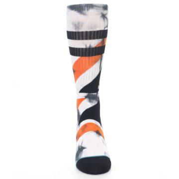 Image of White Black Orange Pattern Men's Casual Socks (front-04)