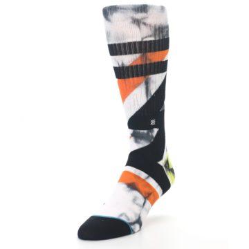Image of White Black Orange Pattern Men's Casual Socks (side-2-front-07)
