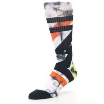Image of White Black Orange Pattern Men's Casual Socks (side-2-front-08)