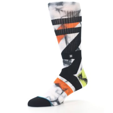 Image of White Black Orange Pattern Men's Casual Socks (side-2-09)