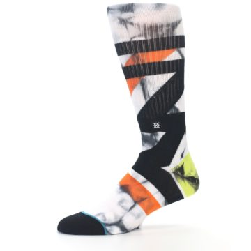 Image of White Black Orange Pattern Men's Casual Socks (side-2-10)