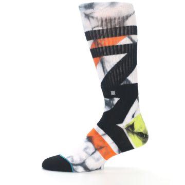 Image of White Black Orange Pattern Men's Casual Socks (side-2-11)