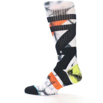Image of White Black Orange Pattern Men's Casual Socks (side-2-12)