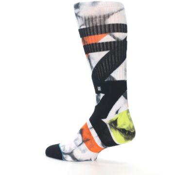 Image of White Black Orange Pattern Men's Casual Socks (side-2-13)