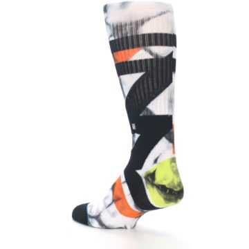 Image of White Black Orange Pattern Men's Casual Socks (side-2-back-14)