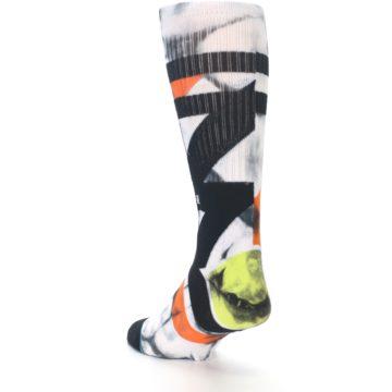 Image of White Black Orange Pattern Men's Casual Socks (side-2-back-15)