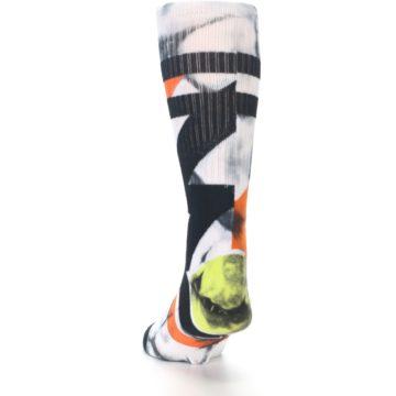 Image of White Black Orange Pattern Men's Casual Socks (side-2-back-16)