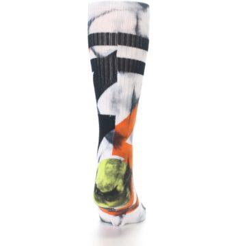 Image of White Black Orange Pattern Men's Casual Socks (back-18)