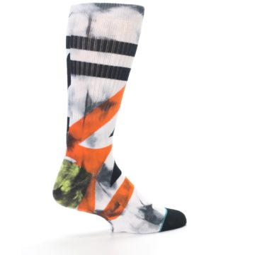 Image of White Black Orange Pattern Men's Casual Socks (side-1-back-22)