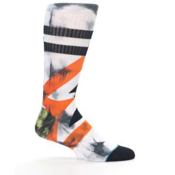 Image of White Black Orange Pattern Men's Casual Socks (side-1-24)