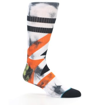 Image of White Black Orange Pattern Men's Casual Socks (side-1-25)