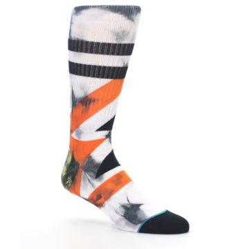 Image of White Black Orange Pattern Men's Casual Socks (side-1-26)