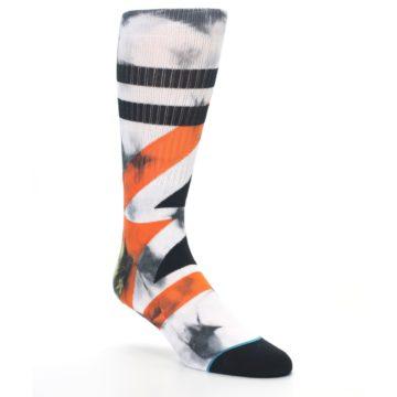 Image of White Black Orange Pattern Men's Casual Socks (side-1-27)
