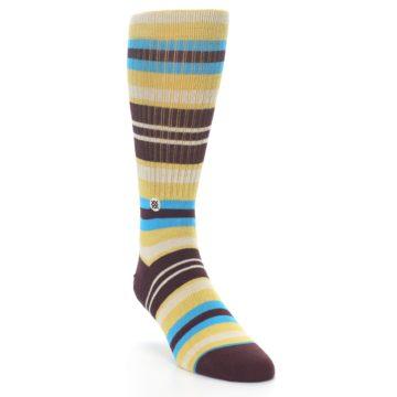 Image of Maroon Gold Stripe Men's Casual Socks (side-1-front-02)