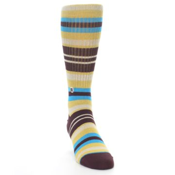 Image of Maroon Gold Stripe Men's Casual Socks (side-1-front-03)