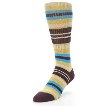 Image of Maroon Gold Stripe Men's Casual Socks (side-2-front-07)