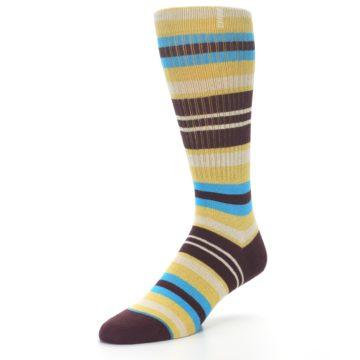 Image of Maroon Gold Stripe Men's Casual Socks (side-2-front-08)