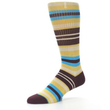 Image of Maroon Gold Stripe Men's Casual Socks (side-2-09)