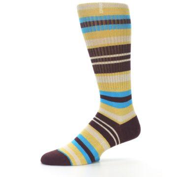 Image of Maroon Gold Stripe Men's Casual Socks (side-2-10)