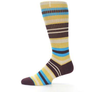 Image of Maroon Gold Stripe Men's Casual Socks (side-2-11)