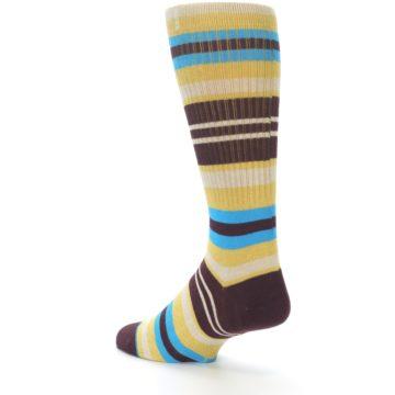 Image of Maroon Gold Stripe Men's Casual Socks (side-2-back-14)