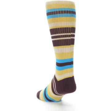 Image of Maroon Gold Stripe Men's Casual Socks (side-2-back-15)