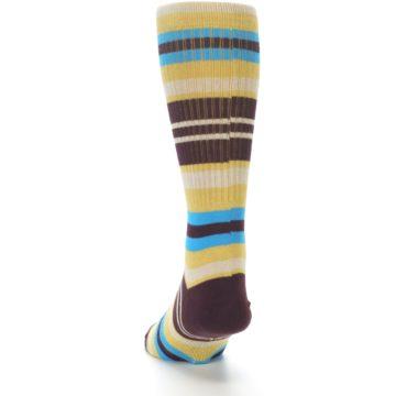 Image of Maroon Gold Stripe Men's Casual Socks (side-2-back-16)