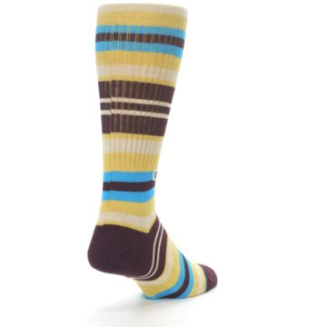 Image of Maroon Gold Stripe Men's Casual Socks (side-1-back-20)
