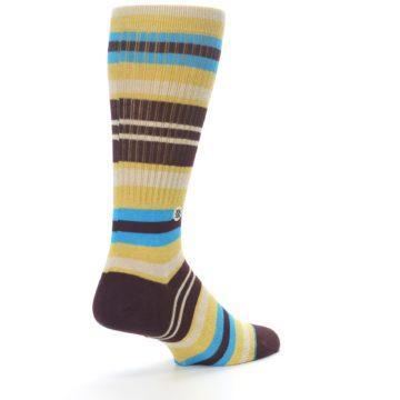 Image of Maroon Gold Stripe Men's Casual Socks (side-1-back-21)