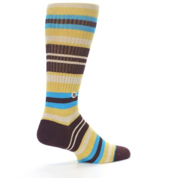 Image of Maroon Gold Stripe Men's Casual Socks (side-1-back-22)