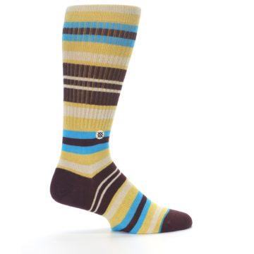 Image of Maroon Gold Stripe Men's Casual Socks (side-1-23)