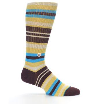 Image of Maroon Gold Stripe Men's Casual Socks (side-1-24)