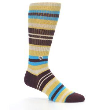 Image of Maroon Gold Stripe Men's Casual Socks (side-1-25)