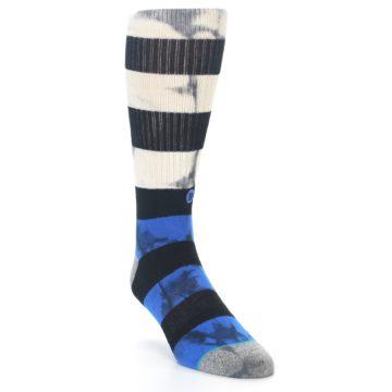 Image of Black Blue Cream Stripe Men's Casual Socks (side-1-front-02)